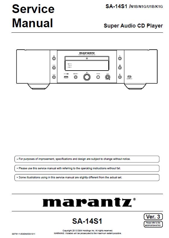 Marantz SA-14S1 Service Manual