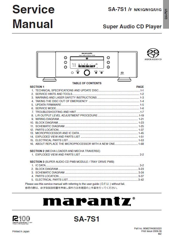Marantz SA-7S1 Service Manual