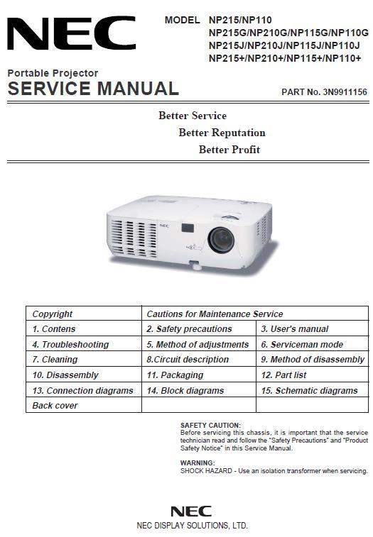 NEC NP110/NP115/NP210/NP215 Service Manual
