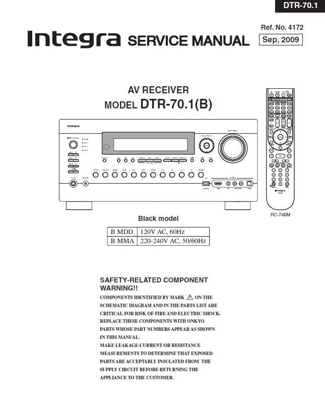Integra DTR-70.1 Service Manual