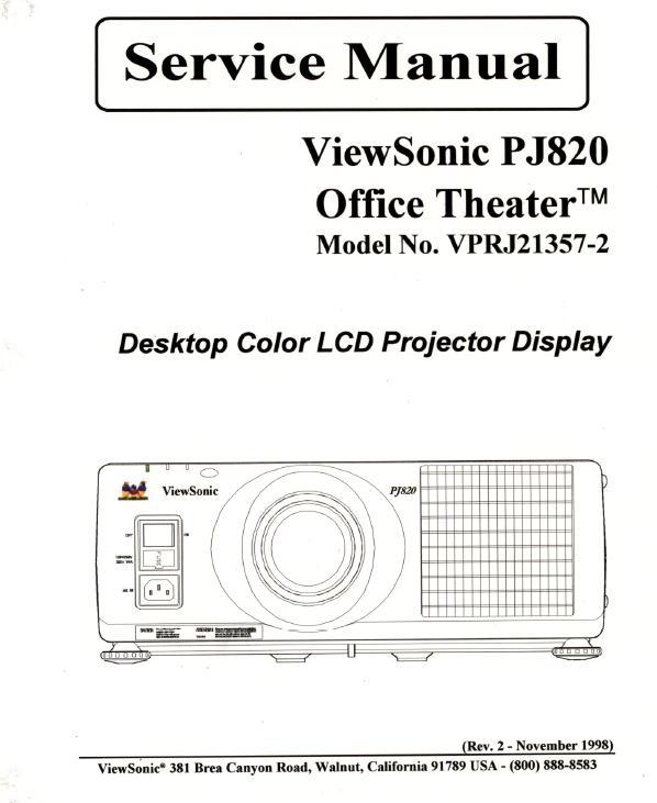 ViewSonic PJ820 Service Manual