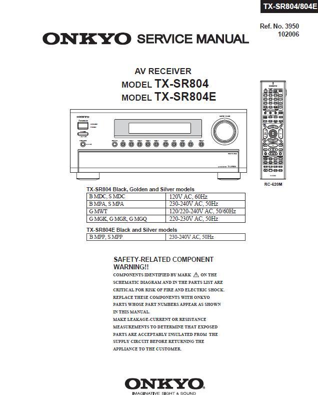 Onkyo TX-SR804/TX-SR804E Service Manual