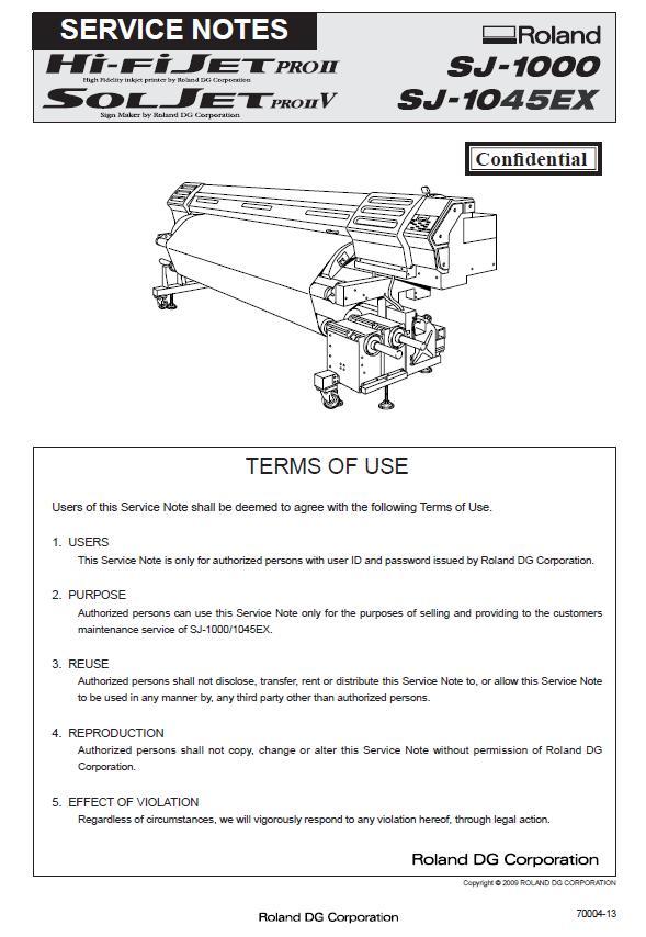 Roland SJ-1000/SJ-1045EX Service Manual