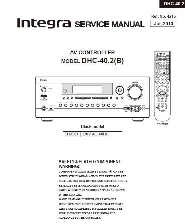 Integra DHC-40.2 Service Manual