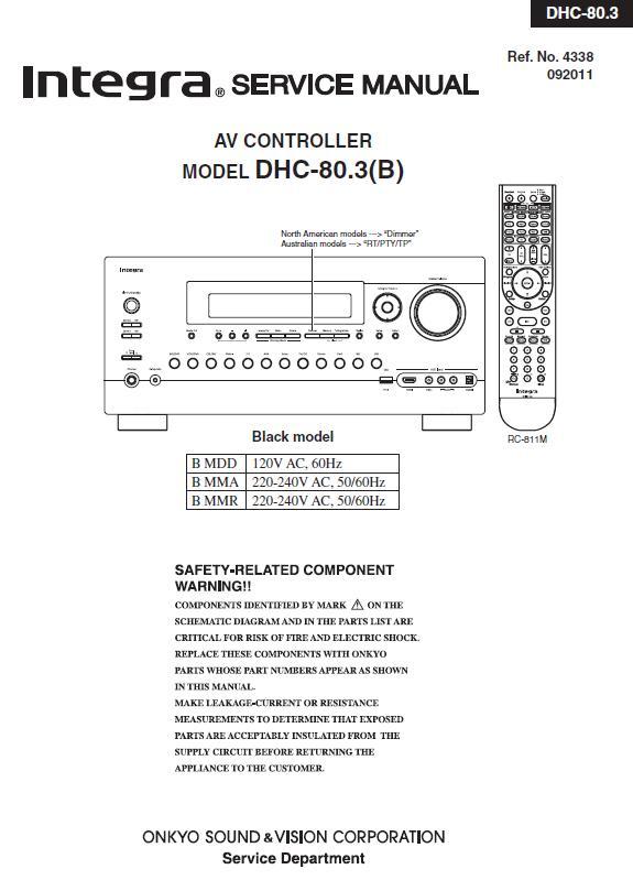 Integra DHC-80.3 Service Manual