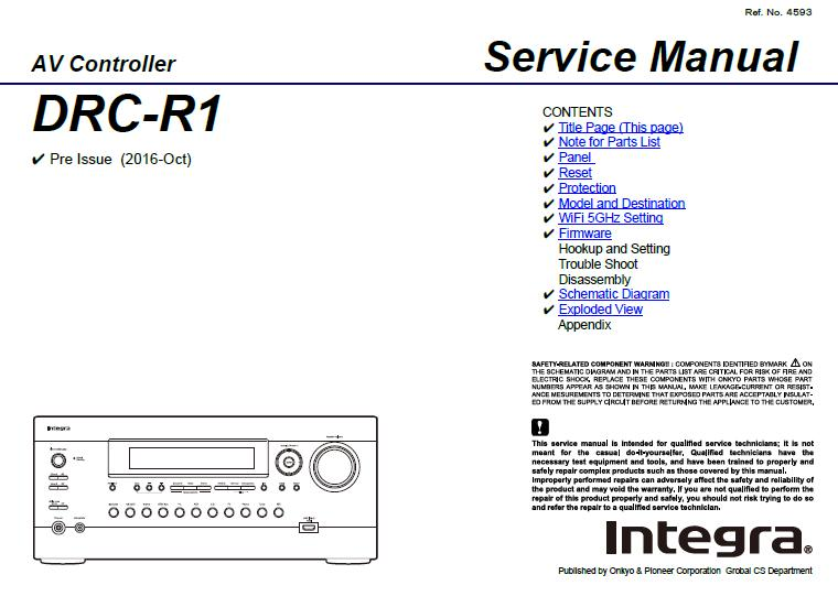 Integra DRC-R1 Service Manual