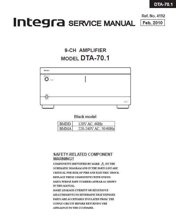 Integra DTA-70.1 Service Manual