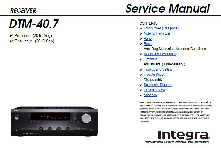 Integra DTM-40.7 Service Manual