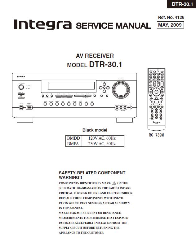 Integra DTR-30.1 Service Manual