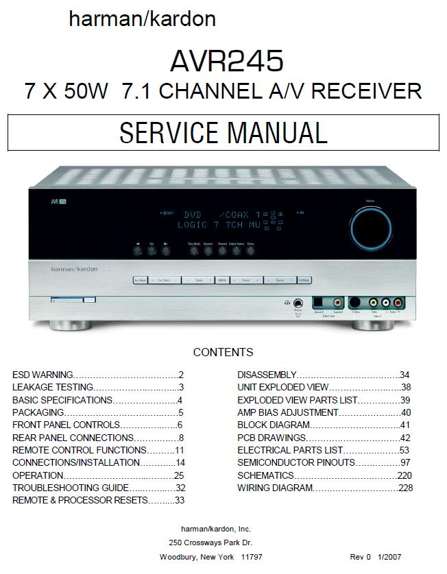 Harman/Kardon AVR-245 Service Manual