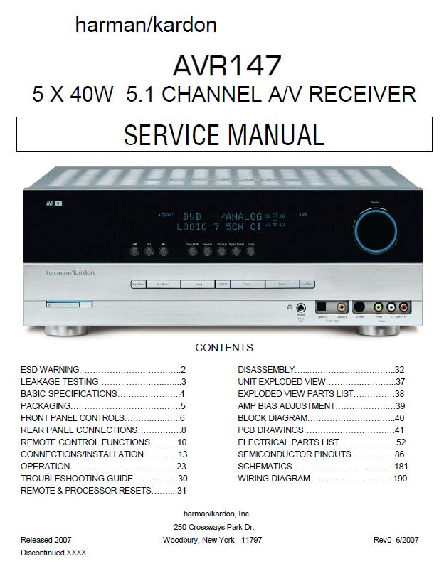 Harman/Kardon AVR-147 Service Manual