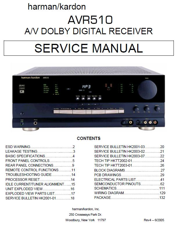 Harman/Kardon AVR-510 Service Manual