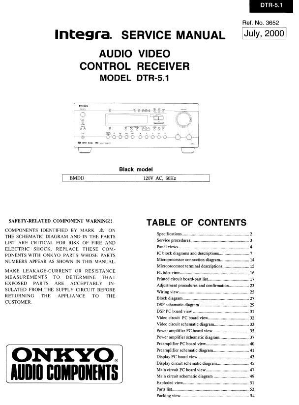 Integra DTR-5.1 Service Manual