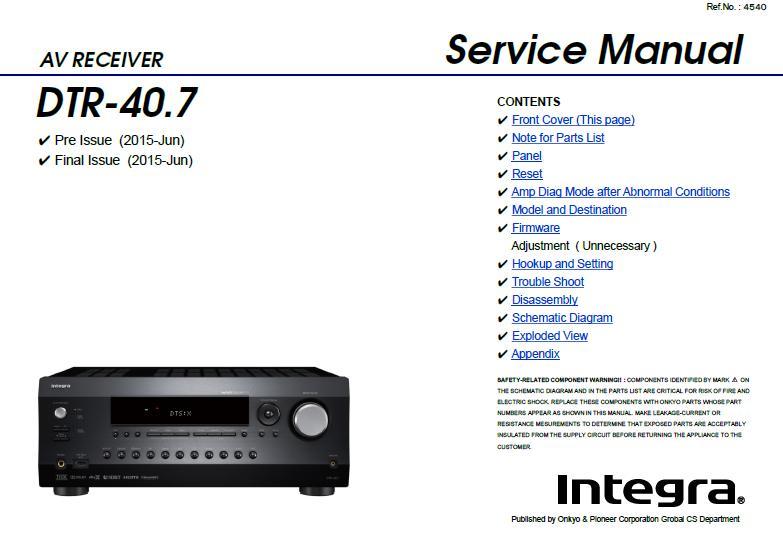 Integra DTR-40.7 Service Manual