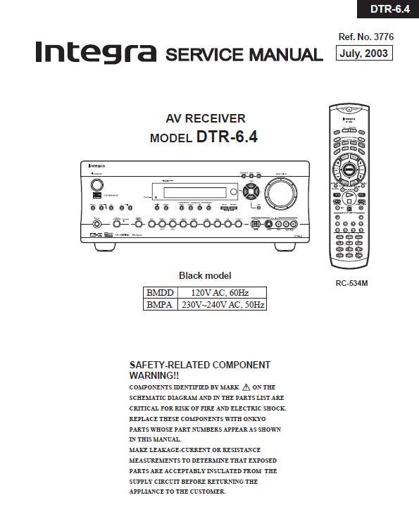 Integra DTR-6.4 Service Manual