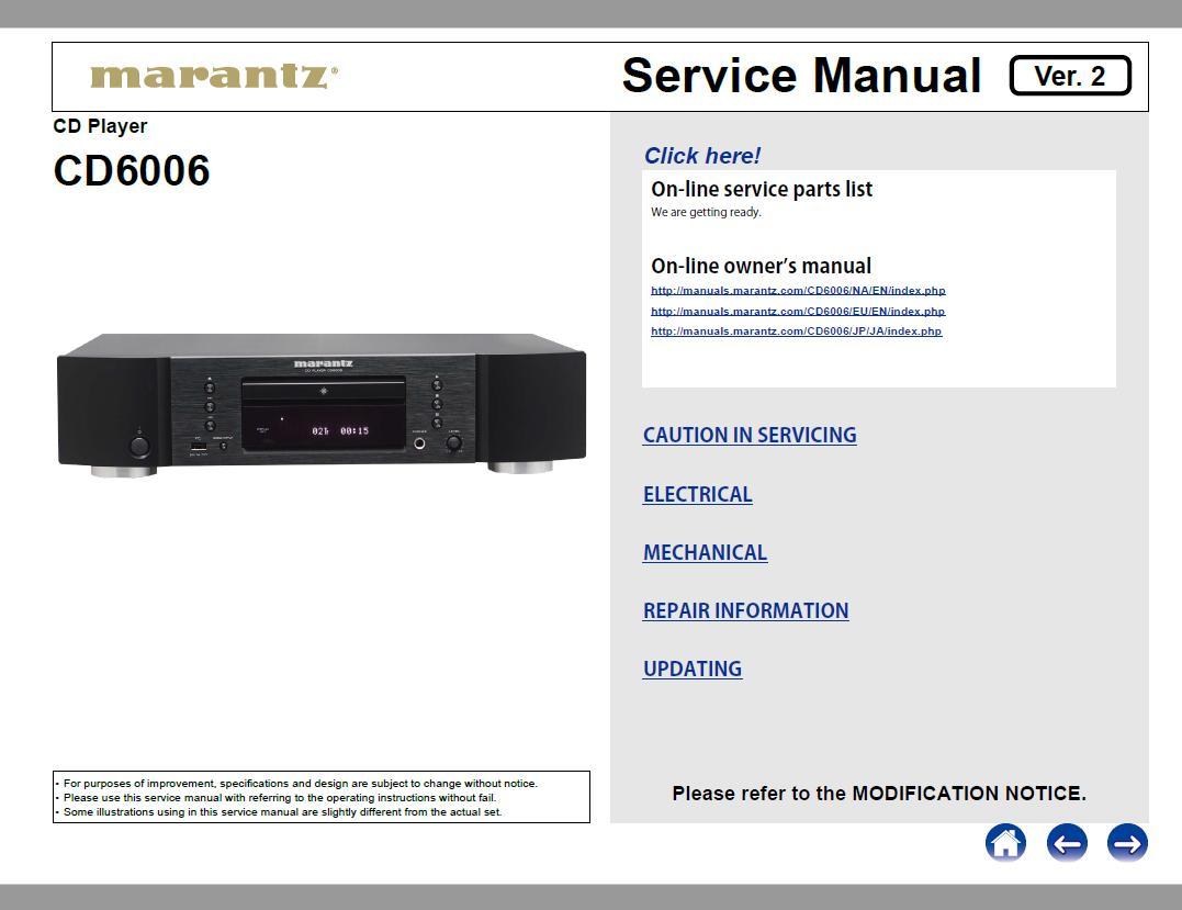 Marantz CD6006 Service Manual