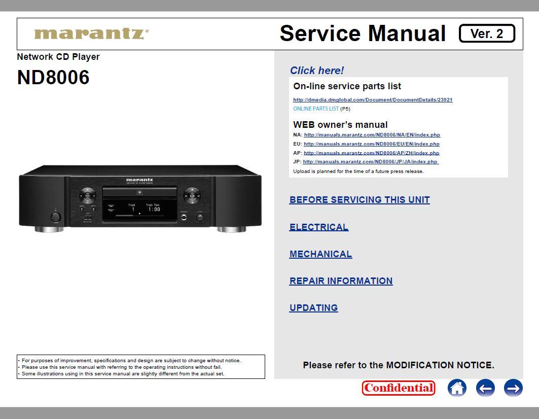 Marantz ND8006 Service Manual