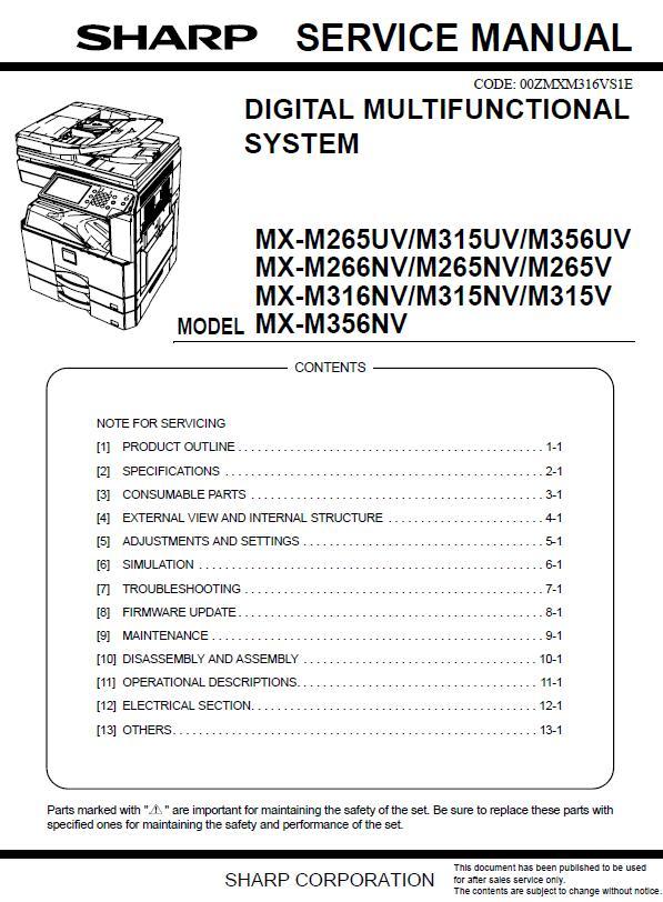 Sharp MX-M265UV/M315UV/M356UV/M266NV/M265NV/M265V/M316NV/M315NV/M315V/M356NV Service Manual