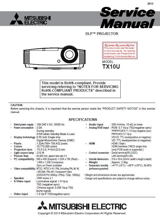 Mitsubishi TX10U Service Manual