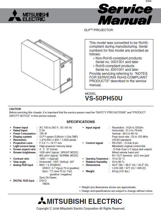 Mitsubishi VS-50PH50U Service Manual