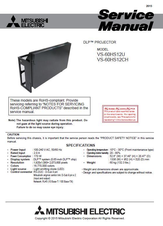 Mitsubishi VS-60HS12 Service Manual