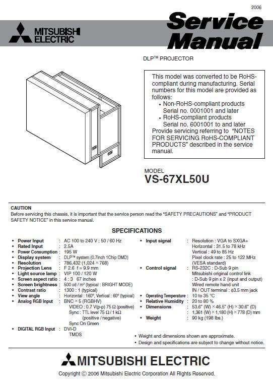 Mitsubishi VS-67XL50U Service Manual