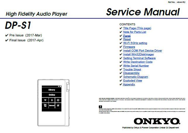 Onkyo DP-S1 Service Manual