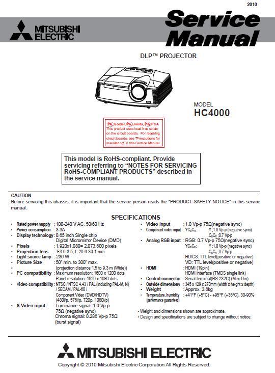 Mitsubishi HC4000 Service Manual