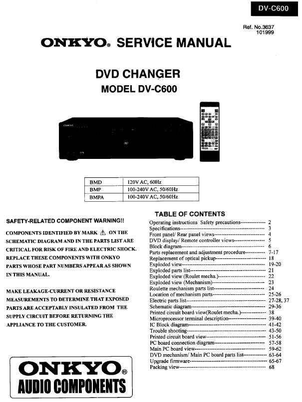 Onkyo DV-C600 Service Manual