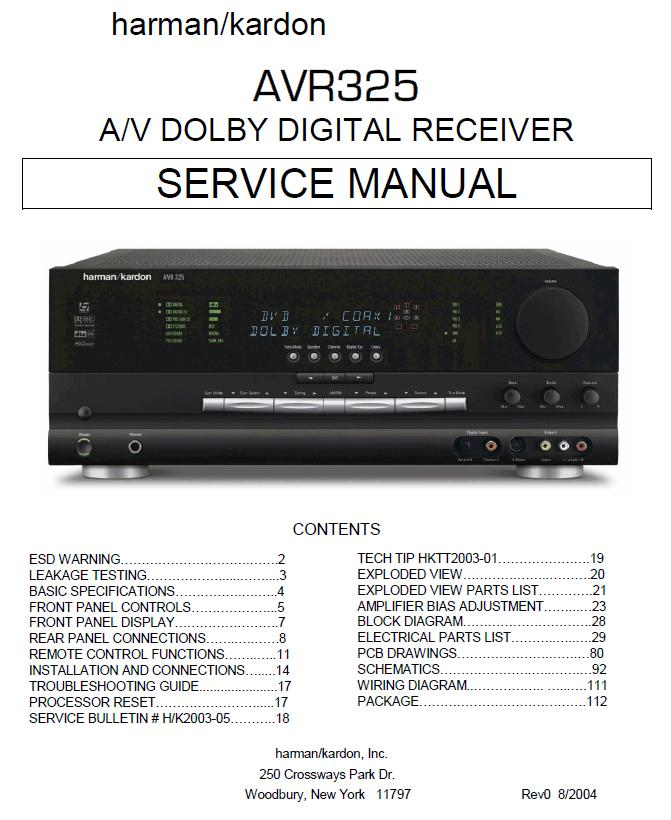 Harman/Kardon AVR-325 Service Manual