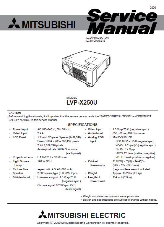 Mitsubishi LVP-X250U Service Manual