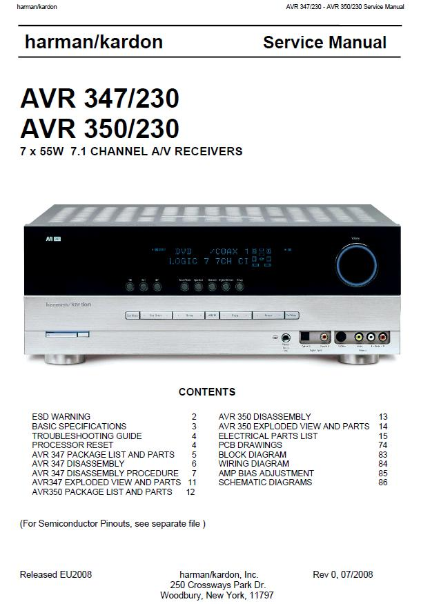 Harman/Kardon AVR-347/230/AVR-350/230 Service Manual