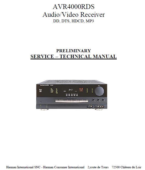 Harman/Kardon AVR-4000RDS Service Manual