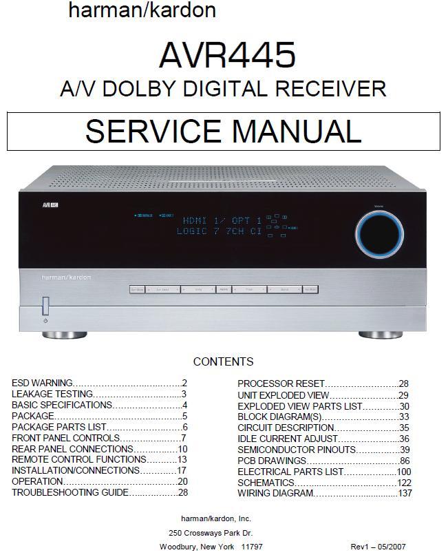 Harman/Kardon AVR-445 Service Manual