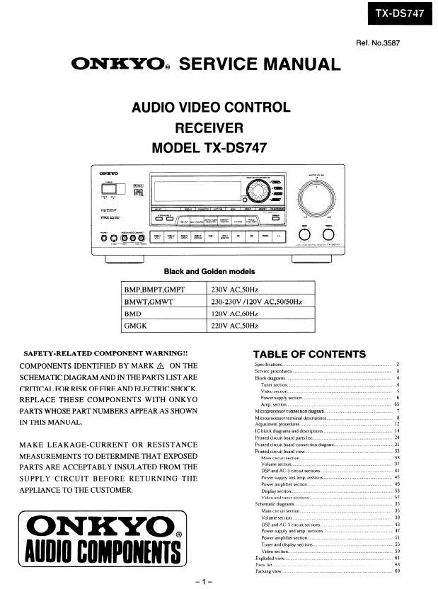 Onkyo TX-DS747 Service Manual