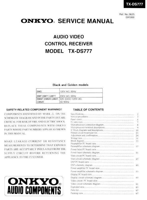 Onkyo TX-DS777 Service Manual