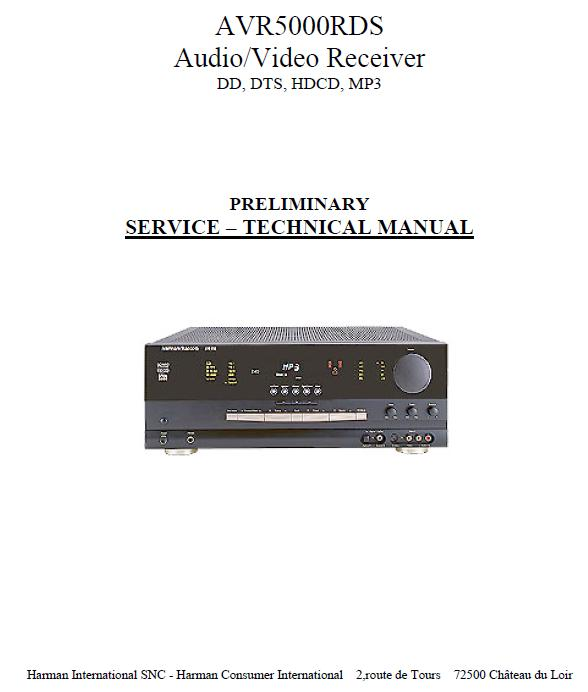 Harman/Kardon AVR-5000 Service Manual