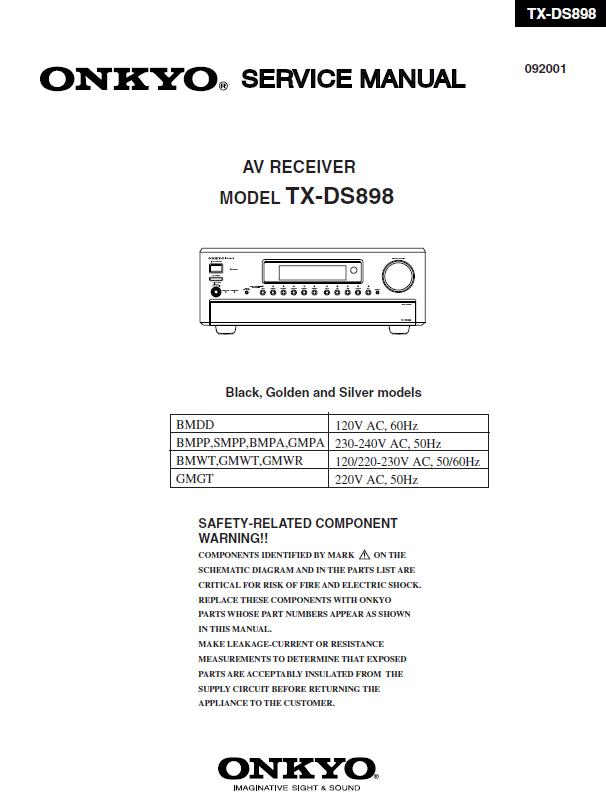 Onkyo TX-DS898 Service Manual