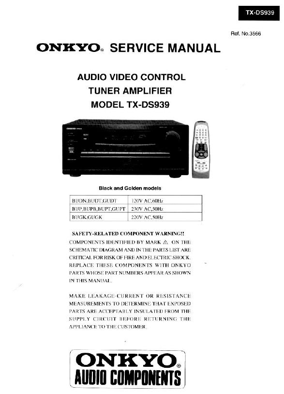 Onkyo TX-DS939 Service Manual