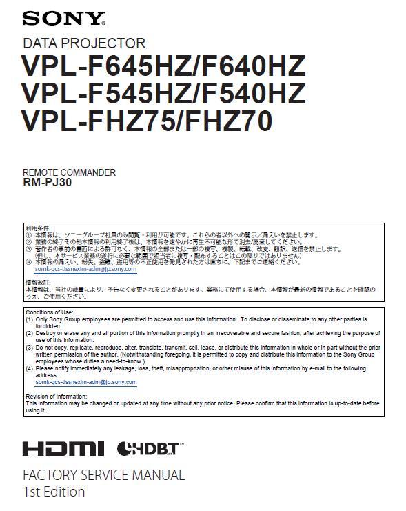 Sony VPL-F540/545/640/645/FHZ70/75 Service Manual