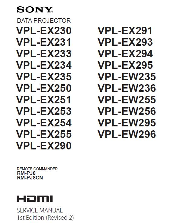 Sony VPL-EX-EW230/231/233/234/235/250/251/253/254/255/290/291/293/294/295/296 Service Manual