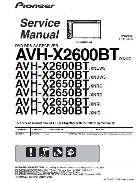 Pioneer AVH-X2600BT/VH-X2650BT/AVH-X2690BT Service Manual