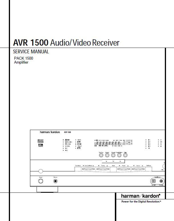 Harman/Kardon AVR-1500 Service Manual