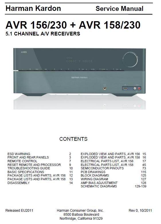 Harman/Kardon AVR-156/230 / AVR-158/230 Service Manual