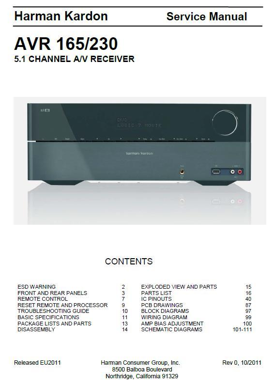 Harman/Kardon AVR-165/230 Service Manual