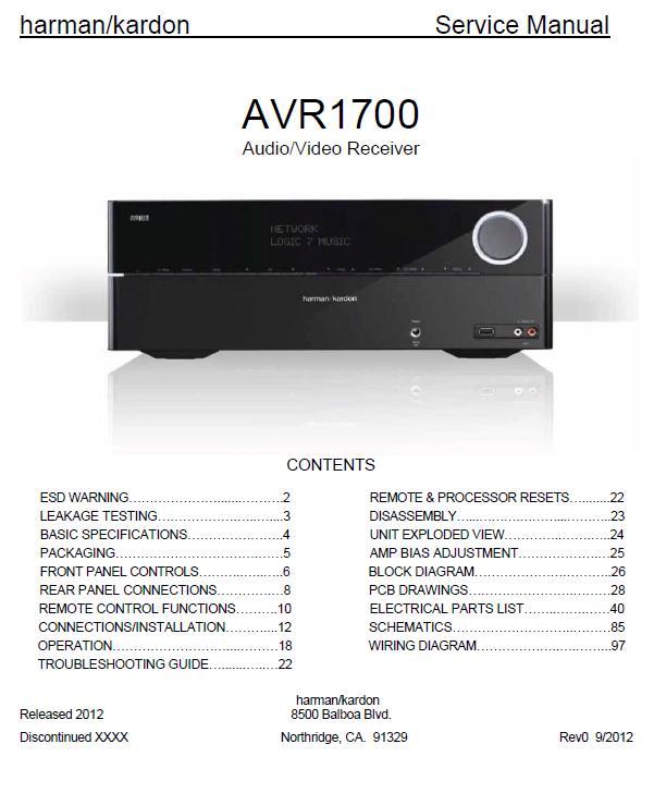 Harman/Kardon AVR-1700 Service Manual