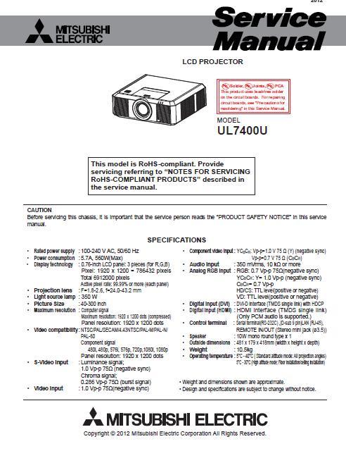 Mitsubishi UL7400U Service Manual