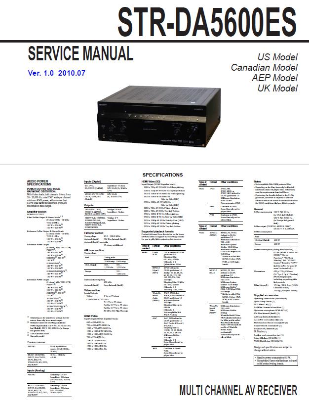 Sony STR-DA5600ES Service Manual