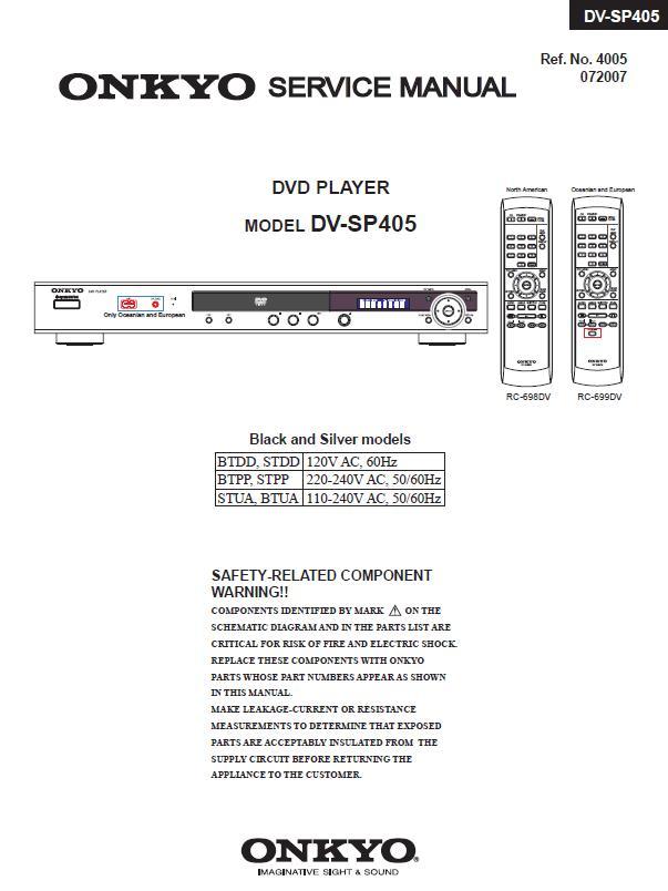 Onkyo DV-SP405 Service Manual