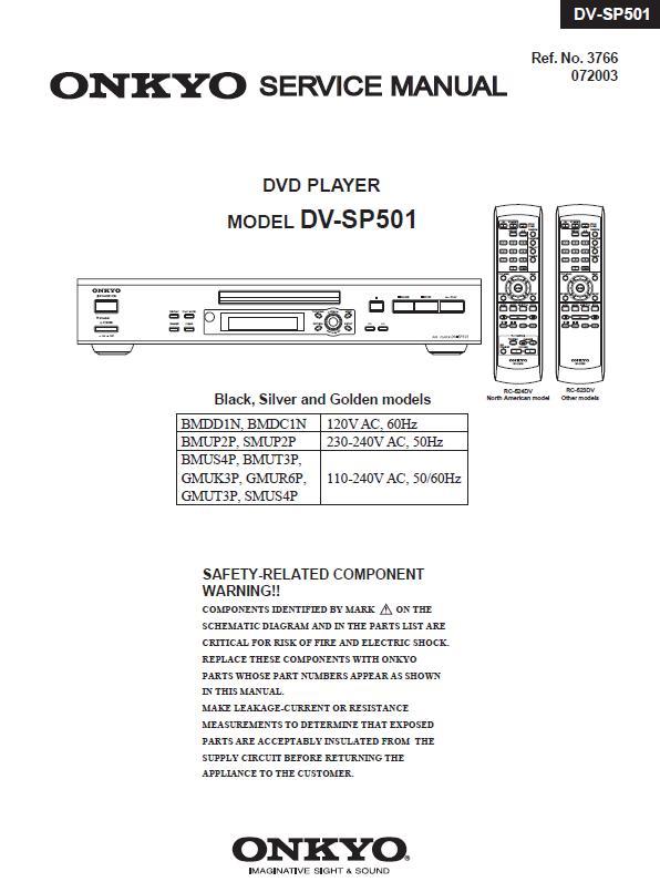 Onkyo DV-SP501 Service Manual